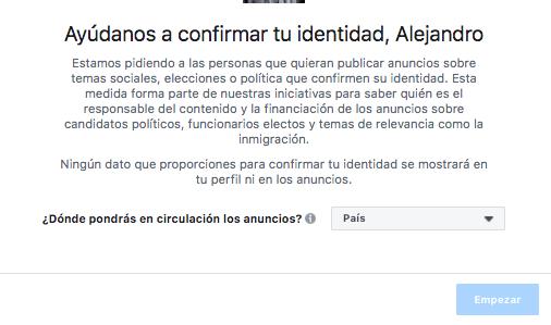 identidad para campañas políticas en facebook